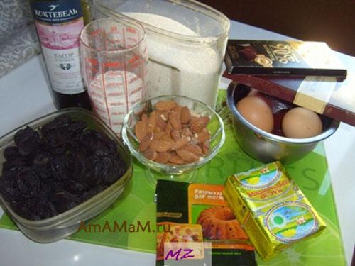 Состав продуктов для приготовления торта с шоколадом