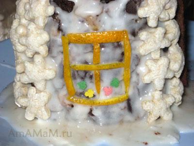 Изготовление торта-домика: делаем из апельсиновых полосочек окна