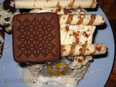 Построение сладкого шоколадного домика - торта - как сделать крышу