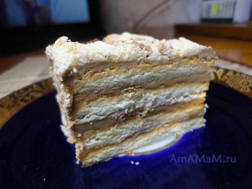 Кусочек вкусного торта из готового печенья, масла, какао и сгущенки
