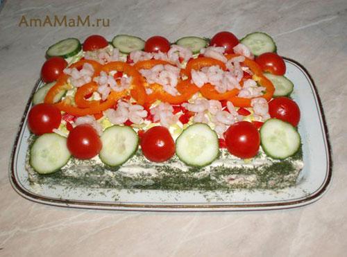 Как украсить соленый рыбный торт