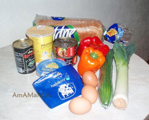 Состав продуктов для приготовления закусочного торта с консервированной рыбой