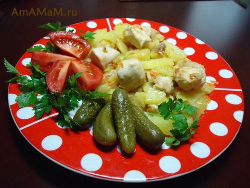 Как жарить картошку с куриной грудкой - простой рецепт и фото!