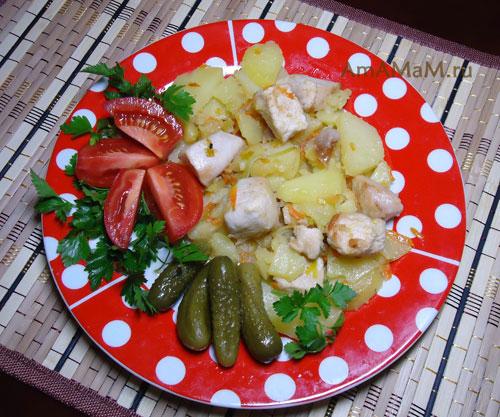 блюда из куриной грудки и картошки