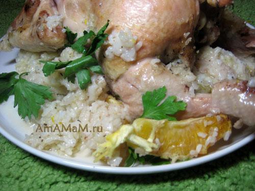 Как запечь курицу с рисом - простой рецепт с фото