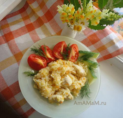 Как тушиь рис с курицей - рецепт куриного плова с овощами и грудкой