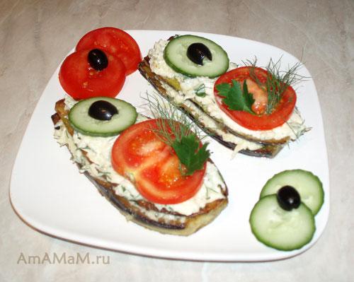 Закуска из баклажанов с помидорами и огурцами - вкусно, просто и быстро