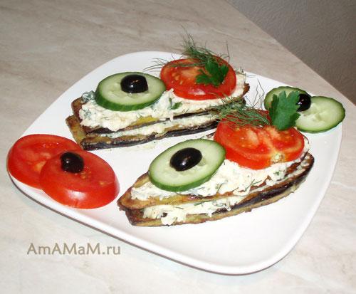 Съедобные кораблики из овощей - баклажанов, огурцов, помидоров, зелени и маслин