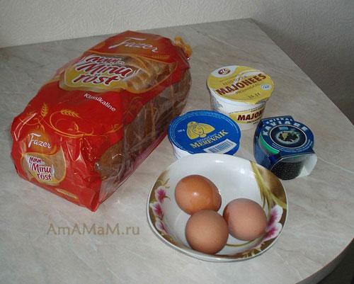 Способ приготовления гренок с сыром и фальш-икрой