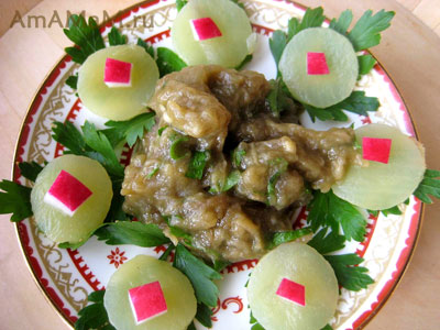 Мелидзано салата - греческая баклажанная икра
