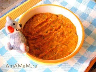 Икра из баклажанов, перца, морковки и помидоров, лука, чеснока и зелени