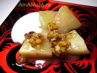 Десерт с дыней, орехами и йогуртом (сметаной)