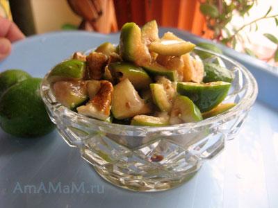 Готовый салат из фейхоа, мёда и грецких орехов