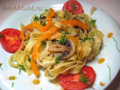 Очень вкусные штрудли (итальянская лапша) с грибами и сладким перцем