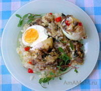 Вкусная запеканка из риса, яиц и грибов
