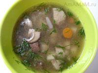 Рецепт грибного супа на говяжьем бульоне