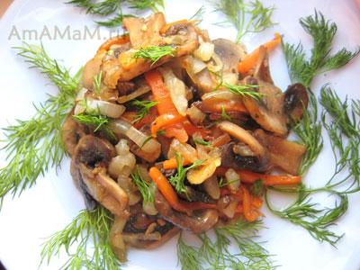 Жареные шампиньоны с луком и морковью рецепт пошагово