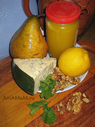 Набор продуктов для приготовления салата из сыра, груш, мяты и орехов