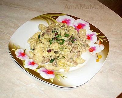 Очень вкусная итальянская паста Гноччи с индейкой, грибами и баклажанами