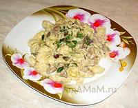 Очень вкусные макароны Гноччи с индейкой и баклажанами в сливках