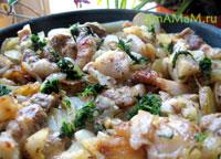 Жареный картофель с грудинкой - рецепт и фото