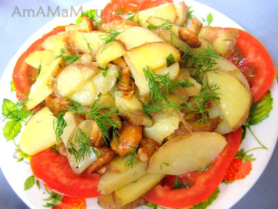 Очень вкусная картошка, жареная с лисичками!