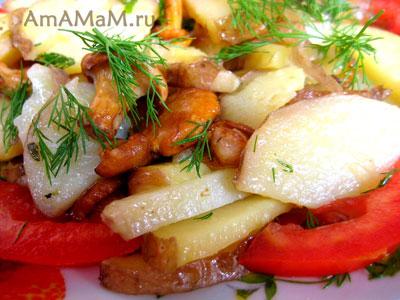 Жареная картошка с лисичками - как приготовить