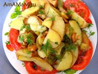Как жарят картошку с грибами - рецепт