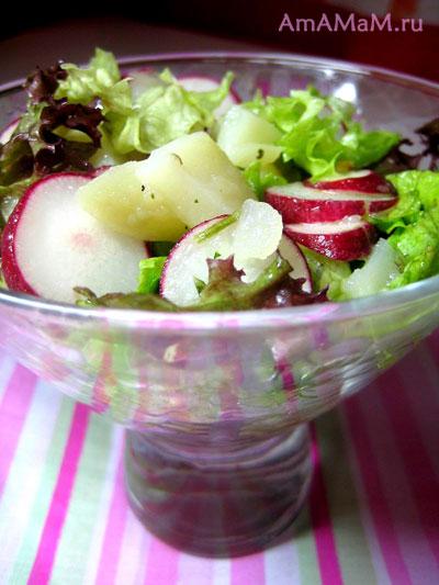 Картошка, редиска, листовой салат, чеснок и оливковое масло с лимоном и солью