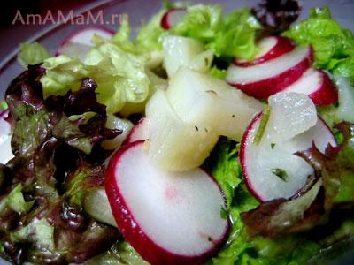 Летний салат из свежих молодых овощей