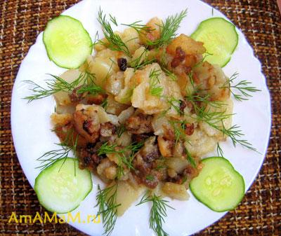 картошка с грудинкой бараньей, жареные