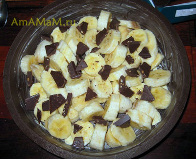 Бананы и шоколад в форме для запекания - готовим сливочно-кофейное суфле