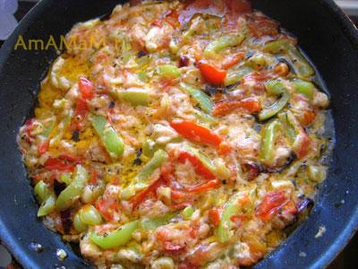 Овощная подливка (жареные-тушеные овоши: перец, помидоры, чеснок, перец чили) для креветок