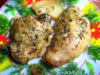 Курица, тушеная в духовке с оливковым маслом