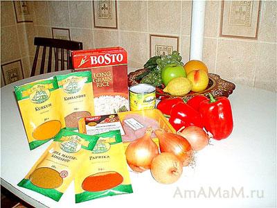 из чего приготовать курочку по-восточному, состав продуктов