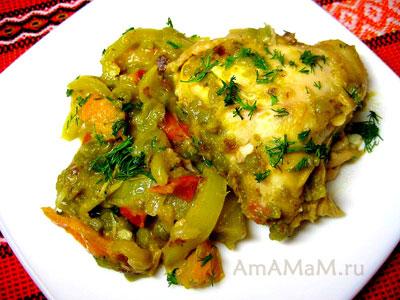Вкусное гороховое пюре с тушеными овощами и курочкой