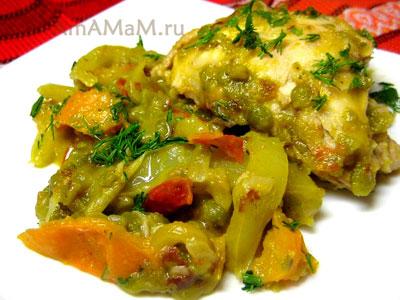 Курица, жареная с овощами и  тушеная с горохом