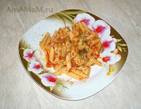 Паста в рыбном соусе с креветками