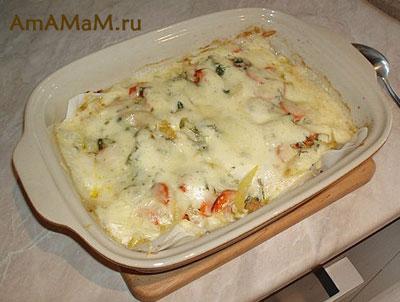 Запеканка из минтая с сыром и овощами
