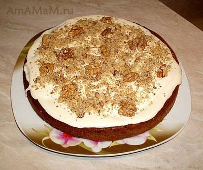 Очень вкусный бисквитный торт с кремом из маскарпоне
