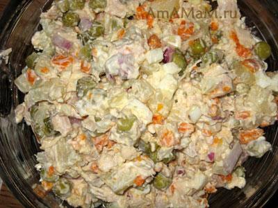 Приготовление оливье - рецепт и фото