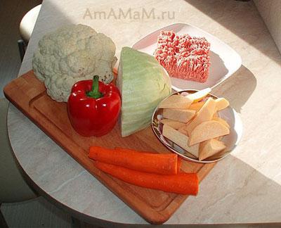 Состав продуктов для приготовления овощного рагу с мясным фаршем по-деревенски