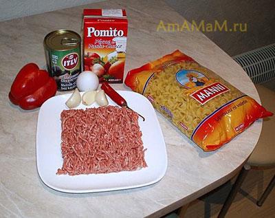 СОстав продуктов для приготовления макарон в томатном соусе болоньезе с тефтельками