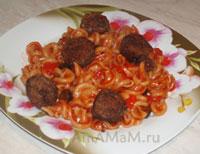 Макароны (паста) с соусом болоньезе и тефтельками