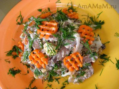 Фото и рецепт салата Обжорка