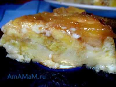 Кусочек бананового пирога - пудинга