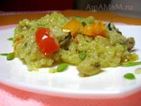 Рис, тушеный с грибами (шампиньонами)