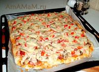 вкусная итальянская пицца на тонком тесте без дрожжей