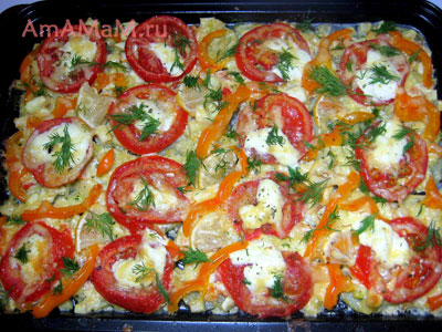 Кабачки с помидорами и сладким перцем