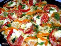 Кабачки с помидорами и сладким перцем, запеченные в духовке